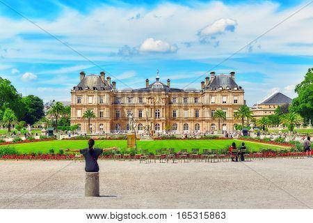 Palace Luxemburg,and park near palace ,  Paris, France.