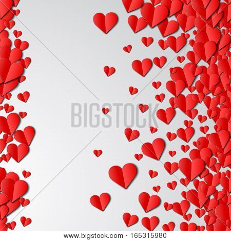 Valentines Day card with scattered cut paper hearts