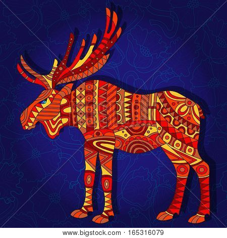 Illustration with abstract red moose on a dark blue floral background