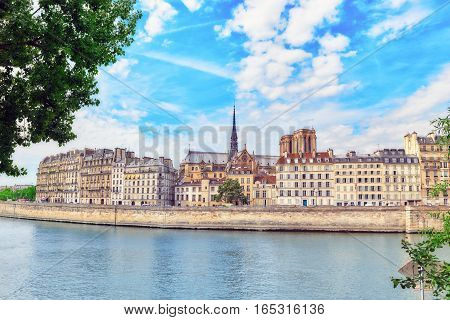 View Of The River Seine And Most Beautiful Cities In The World - Paris. Notre Dame De Paris On Backs