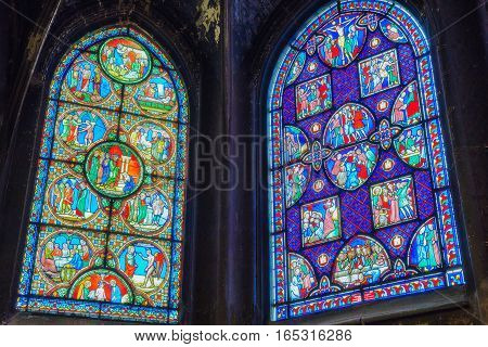 Paris, France - July 06, 2016 : Stained Glass Inside Saint-germain L'auxerrois Church, Near Louvre.
