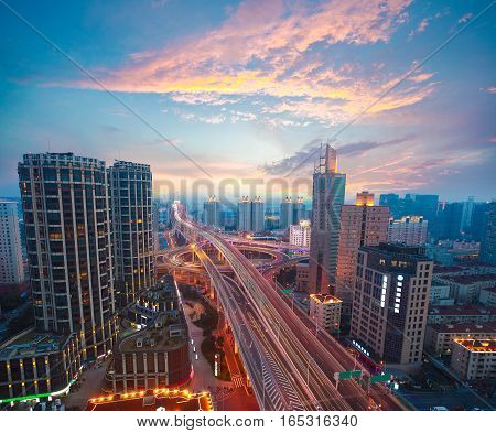 Aerial Photography At City Elevated Bridge Of Sunset