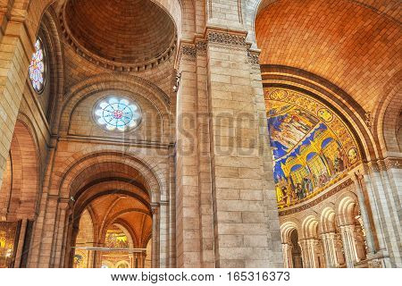 Paris, France - July 04, 2016 : Interior Of  Roman Catholic  Church And Minor Basilica Sacre-coeur,