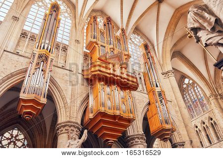 Brussels, Belgium - July 07, 2016 : Inside Cathedral Of St. Michael And St. Gudula  Is A Roman Catho