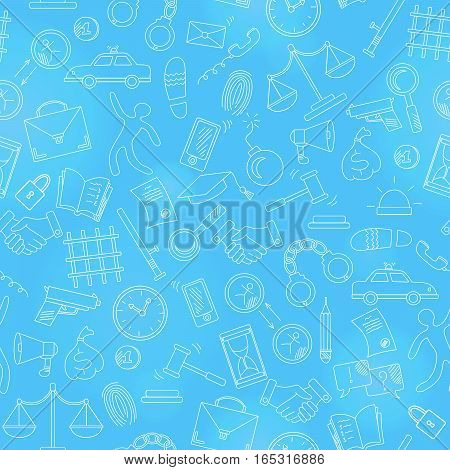 Seamless pattern with hand drawn icons on the theme of law and crimes light contour on blue background