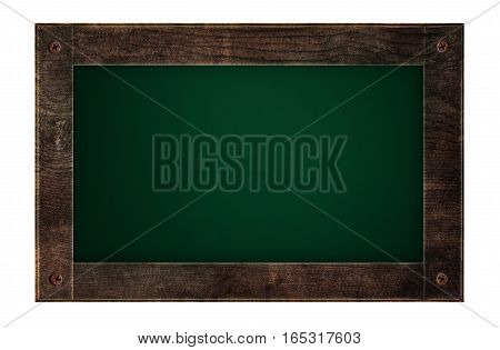 Old wooden frame green board, menu board, isolated on white background