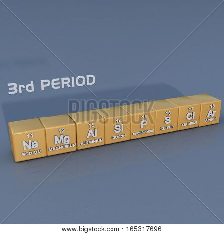 The third period contains eight elements: sodium, magnesium, aluminium, silicon, phosphorus, sulfur, chlorine, and argon