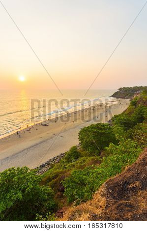 Varkala Beach Cliffs Ocean Sunset Horizon V