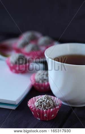 Beautiful Bowl Of Brown Drink With Candies