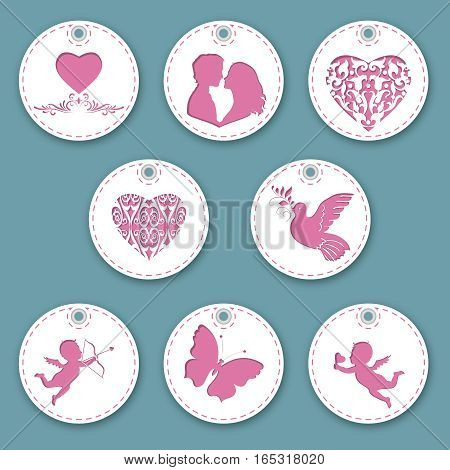 Set of labels for Valentine's Day. Isolated objects with different decoration on the theme of love. Vector illustration