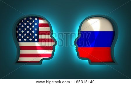 Image relative to politic and economic relationship between USA and Russia. National flags inside the heads of the businessmen. Teamwork concept. 3D rendering. Neon light