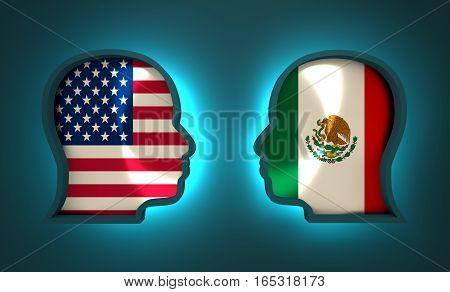 Image relative to politic and economic relationship between USA and Mexico. National flags inside the heads of the businessmen. Teamwork concept. 3D rendering. Neon light