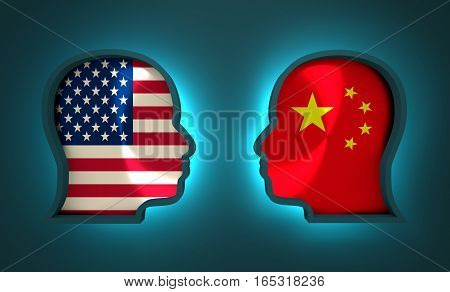 Image relative to politic and economic relationship between USA and China. National flags inside the heads of the businessmen. Teamwork concept. 3D rendering. Neon light