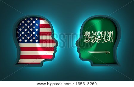 Image relative to politic and economic relationship between USA and Saudi Arabia. National flags inside the heads of the businessmen. Teamwork concept. 3D rendering. Neon light
