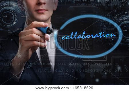 Business, Technology, Internet And Network Concept. Young Business Man Writing Word: Collaboration