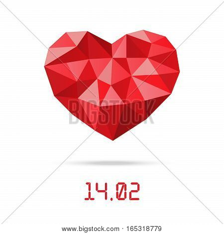 Happy valentines day design template. Low Polygonal heart with Valentines day date
