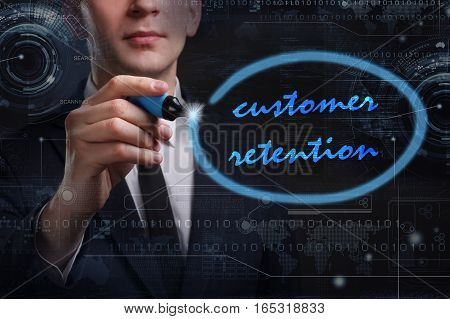 Business, Technology, Internet And Network Concept. Young Business Man Writing Word: Customer Retent