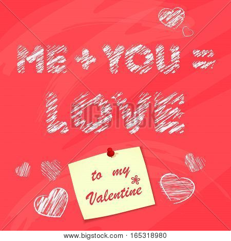 Happy valentines day desk with sticker. Chalk vector painting