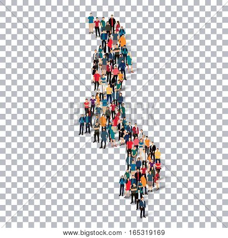 Isometric set of styles, people, map of Malawi , country, web infographics concept of crowded space, flat 3d. Crowd point group forming a predetermined shape. Creative people. Vector illustration. Photo vector.3D illustration. Transparent background . Iso