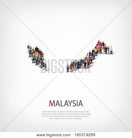 Isometric set of styles, people, map of Malaysia , country, web infographics concept of crowded space, flat 3d. Crowd point group forming a predetermined shape. Creative people. Vector illustration. Photo vector.3D illustration. White background . Isolate