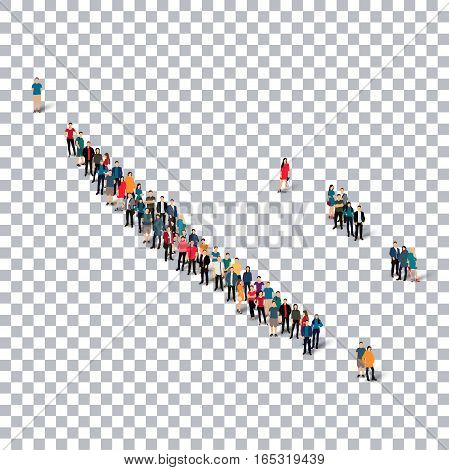 Isometric set of styles, people, map of New Caledonia , country, web infographics concept of crowded space, flat 3d. Crowd point group forming a predetermined shape. Creative people. Vector illustration. Photo vector.3D illustration. Transparent backgroun