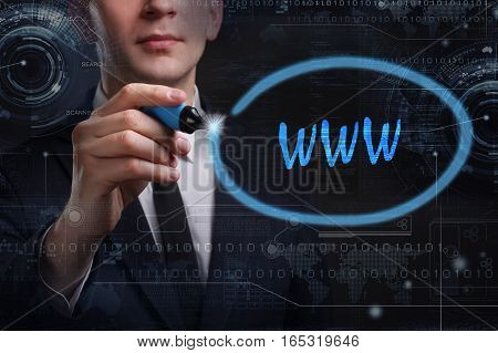 Business, Technology, Internet And Network Concept. Young Business Man Writing Word: Www