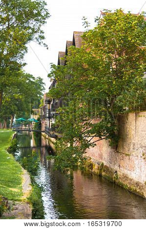 A branch of the Great Stour river in Westgate Gardens outside the Canterbury city wall. Canterbury Kent United Kingdom