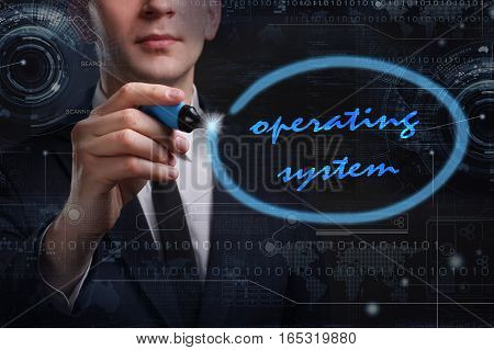 Business, Technology, Internet And Network Concept. Young Business Man Writing Word: Operating Syste
