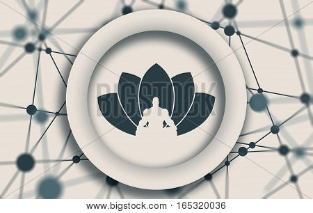 Muscular man sit in meditation pose. Cutout silhouette. Lotus Flower Emblem. Molecule And Communication Background. Connected lines with dots. White circle with shadows. Shallow depth of field
