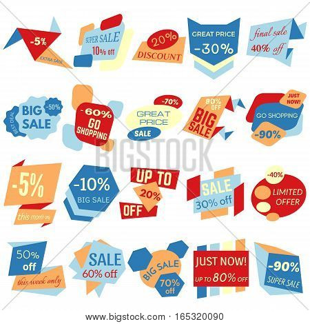 Set of Sale Discount Labels Tags Emblems. Web collection of stickers and badges for sale. Isolated vector illustration.