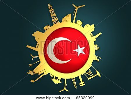 Circle with industry relative silhouettes. Objects located around the circle. Industrial design background. Turkey flag in the center. Golden material. 3D rendering