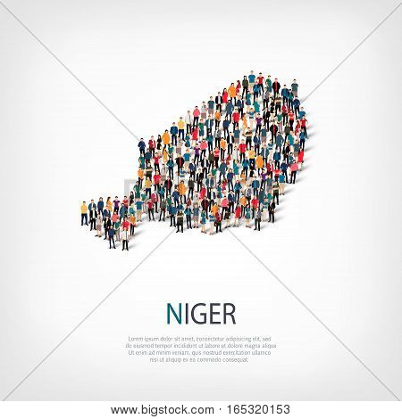 Isometric set of styles, people, map of Niger , country, web infographics concept of crowded space, flat 3d. Crowd point group forming a predetermined shape. Creative people. Vector illustration. Photo vector.3D illustration. White background . Isolated.