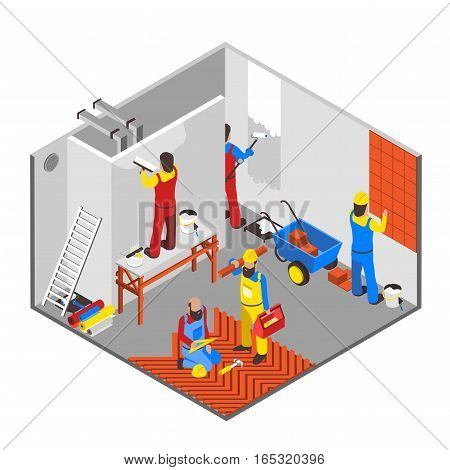 Interior redecoration isometric composition with tools equipment and people vector illustration