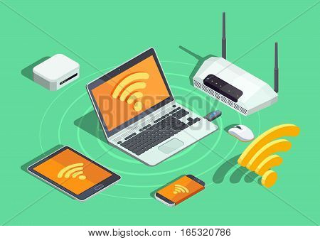Wireless technology devices isometric poster with laptop printer smartphone router and wifi internet connection symbol vector illustration