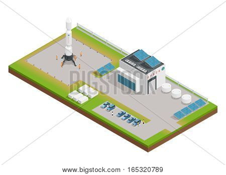 3d space isometric composition the layout of the building, dealing with service and construction of rocket vector illustration