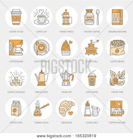 Coffee making equipment vector line icons. Tools - moka pot, french press, coffee grinder, espresso, vending, plant. Linear restaurant, shop pictogram with editable stroke for menu.