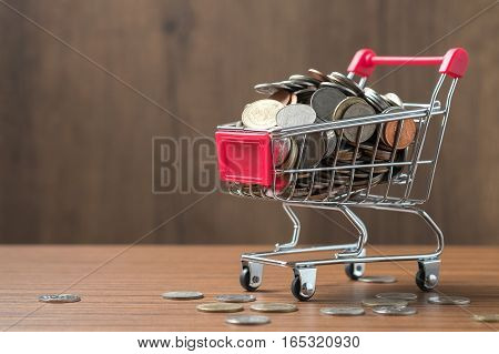 Saving and shopping concept. Money on shopping cart.