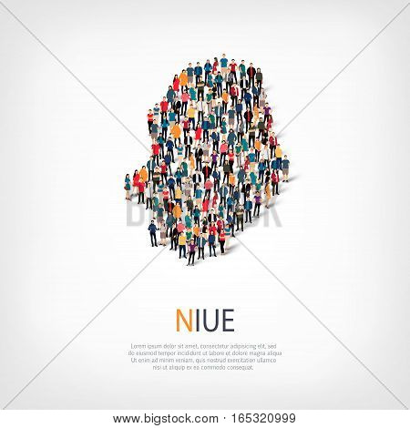 Isometric set of styles, people, map of Niue , country, web infographics concept of crowded space, flat 3d. Crowd point group forming a predetermined shape. Creative people. Vector illustration. Photo vector.3D illustration. White background . Isolated.