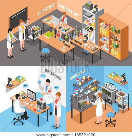 Scientists laboratory concept with three isometric compositions of lab environment workplaces employee characters discussion and collaboration vector illustration