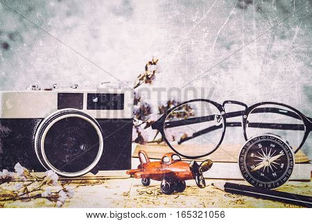 vintage style with vintage tone old objects