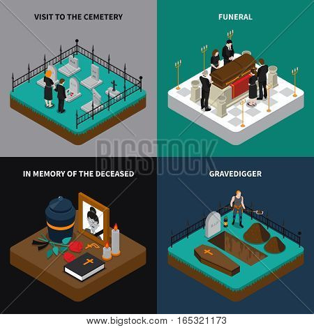 Funeral isometric concept with ritual services ceremony memorial elements and traditions vector illustration