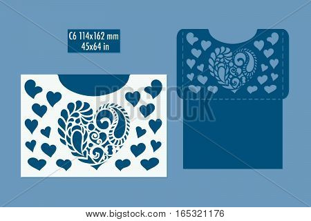 Template - envelope for laser cut with hearts. DIY laser cutting envelope. Wedding invitation envelope for cutting machine or laser cutting. Suitable for greeting cards invitations menus