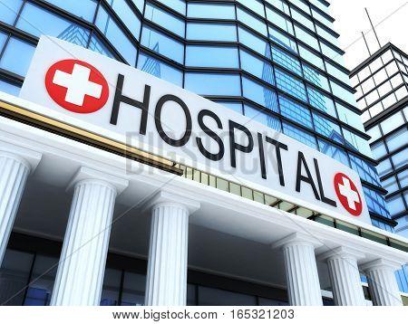 Big build hospital and sign. 3d illustration