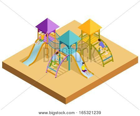 Colored isometric playground composition little childrens slides with which children are slipping vector illustration
