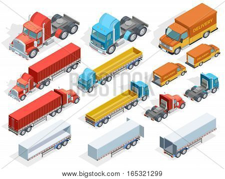 Vehicle isometric collection of colorful trucks with and without trailers isolated vector illustration