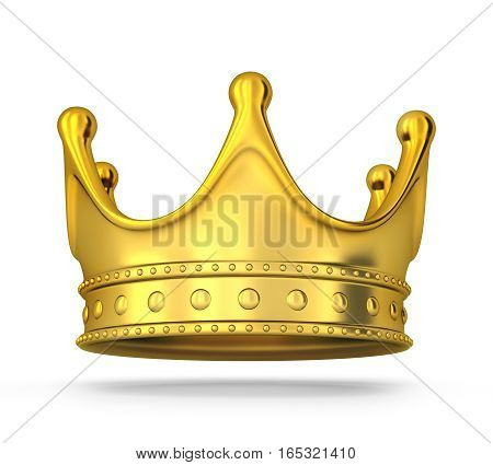 Gold crown only on white background. 3d illustration