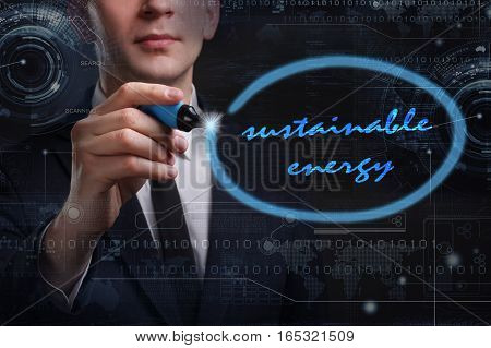 Business, Technology, Internet And Network Concept. Young Business Man Writing Word: Sustainable Ene
