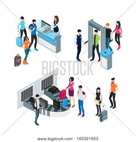 Airport isometric concept with passengers and travelers before boarding and after arrival isolated vector illustration