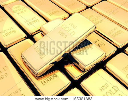Many gold bar 999 golden sample. 3d illustration