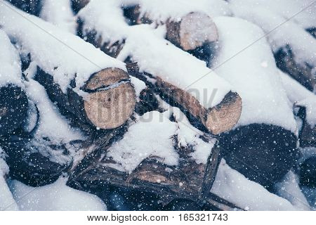Pile of cut wood logs under white winter snow